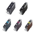 Canon CLI-8 Plus PGI-5 - 5 Color Ink Cartridge Set, Remanufactured B,C,M,Y, & PGI-5