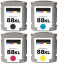 HP 88XL - 4 Color Ink Cartridge Set, Remanufactured BCMY Combo