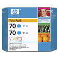 HP 70 Ink Twin Pack Cyan (CB343A)