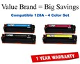 HP 4-Color Set Remanufactured Toner (CE320A/CE321A/CE322A/CE323A)