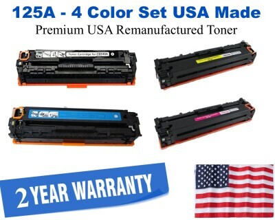 125A Series 4-Color Set Premium USA Made Remanufactured HP toner CB540A,CB541A,CB542A,CB543A