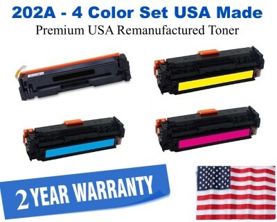 202A Series 4 Color Set USA Made Remanufactured HP toner CF500A, CF501A, CF502A, CF503A