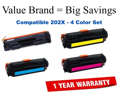 202X Series High Yield 4-Color Set Compatible Value Brand HP toner CF500X, CF501X, CF502X, CF503X