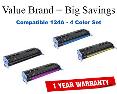 124A 4-Color Set Compatible Value Brand toner Q6000A,Q6001A,Q6002A,Q6003A