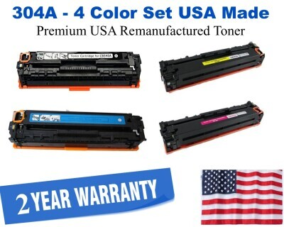 304A Series 4-Color Set Premium USA Made Remanufactured HP toner CC530A,CC531A,CC532A,CC533A