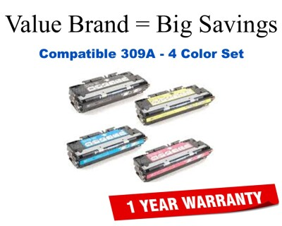 HP 308A, 309A Set Remanufactured Toner (Q2670A, 71A, 72A, 73A)