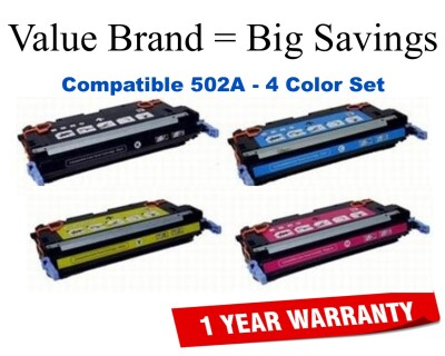 501A,502A 4-Color Set Compatible Value Brand toner Q6470A,Q6471A,Q6472A,Q6473A
