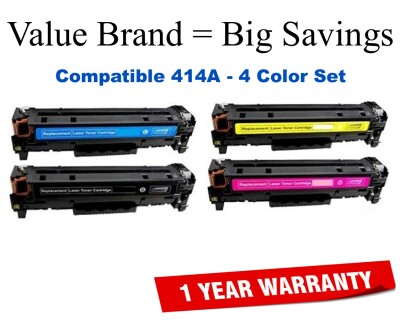 414A Series 4-Color Set Compatible Value Brand toner W2020A,414A,W2021A,W2022A,W2023A