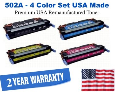 501A,502A Series 4-Color Set Premium USA Made Remanufactured HP toner Q6470A,Q6471A,Q6472A,Q6473A