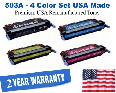 501A,503A Series 4-Color Set Premium USA Made Remanufactured HP toner Q6470A, Q7581A, Q7582A, Q7583A