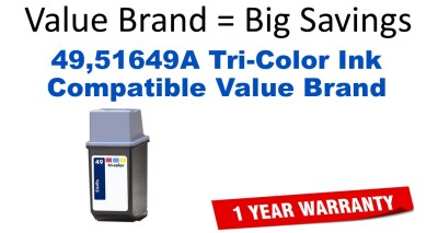 HP 49 Tri-Color Remanufactured Ink Cartridge (51649A) (#49)