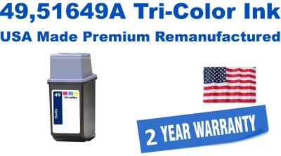 49,51649A Tri-Color Premium USA Made Remanufactured ink
