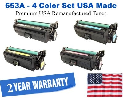 653X, 653A Series 4-Color Set Premium USA Made Remanufactured HP toner CF320X,CF321A,CF322A,CF323A