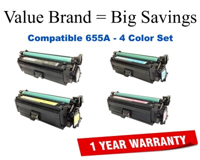 655A 4-Color Set Compatible Value Brand toner CF450A,CF451A,CF452A,CF453A