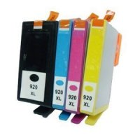 HP 920XL-4 Color Ink Cartridge Set, Remanufactured BCMY Combo (#920XL)