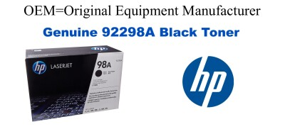 New Original HP 98A Black Toner Cartridge (92298A)