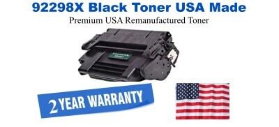 92298X,98X High Yield Black Premium USA Made Remanufactured HP toner