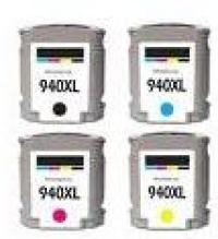 HP 940XL 4 Color Ink Cartridge Set, Remanufactured BCMY Combo (#940XL)