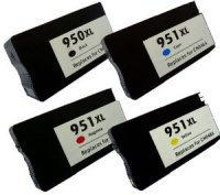 HP 950/951XL 4 Color Ink Set,Remanufactured BCMY Combo (#950/951XL)