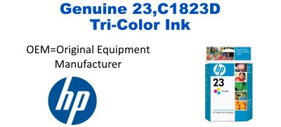 New Original HP 23 Tri-Color Ink Cartridge (C1823D) (#23)