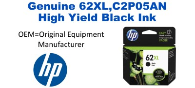 New Original HP C2P05AN (62XL) High Yield Black Ink Cartridge