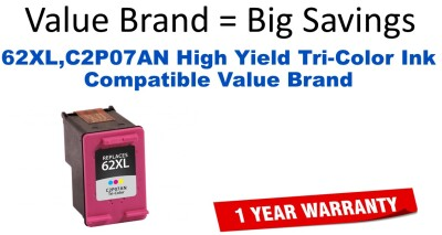 HP C2P07AN (62XL) High Yield Tri-Color Remanufactured Ink Cartridge