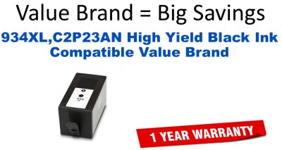 934XL,C2P23AN High Yield Black Compatible Value Brand ink