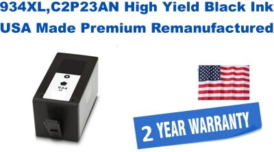 934XL,C2P23AN High Yield Black Premium USA Made Remanufactured ink