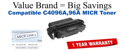 C4096A,96A MICR Compatible Value Brand toner