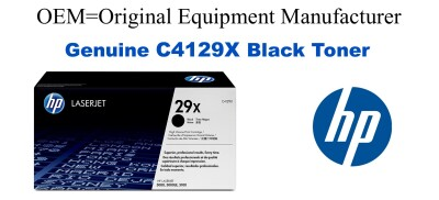 New Original HP 29X Black Toner Cartridge (C4129X, 3842A002AA)