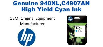 New Original HP 940XL Cyan Ink Cartridge (C4907AN) (#940XL)