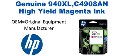 New Original HP 940XL Magenta Ink Cartridge (C4908AN) (#940XL)