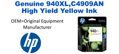 New Original HP 940XL Yellow Ink Cartridge (C4909AN) (#940XL)