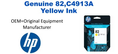 New Original HP 82 Yellow Ink Cartridge (C4913A) (#82)