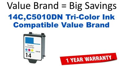 14C,C5010DN Tri-Color Compatible Value Brand ink