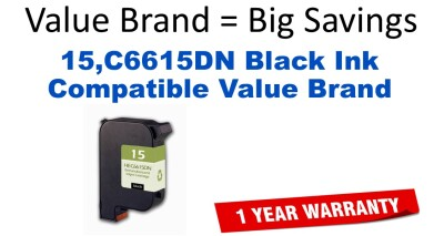 15,C6615DN Black Compatible Value Brand ink