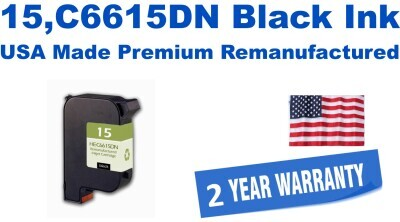 15,C6615DN Black Premium USA Made Remanufactured ink