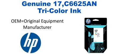 New Original HP 17 Tri-Color Ink Cartridge (C6625AN) (#17)