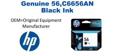 New Original HP 56 Black Ink Cartridge (C6656AN) (#56)
