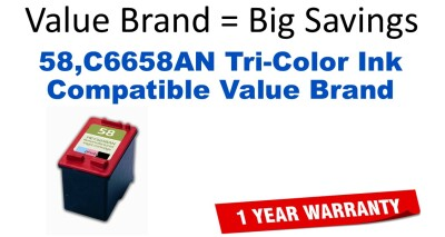 58,C6658AN Tri-Color Compatible Value Brand ink