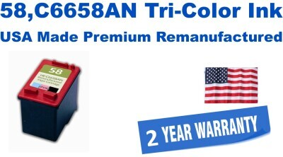 58,C6658AN Tri-Color Premium USA Made Remanufactured ink