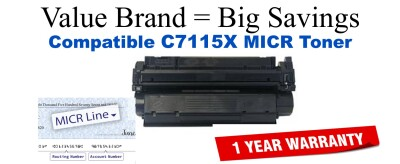 HP 15X Black Remanufactured MICR Toner Cartridge (C7115X)