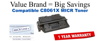 C8061,61X MICR Compatible Value Brand toner