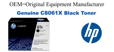 New Original HP 61X Black Toner Cartridge (C8061X)