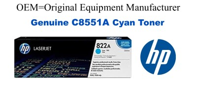 New Original HP 822A Cyan Toner Cartridge (C8551A)