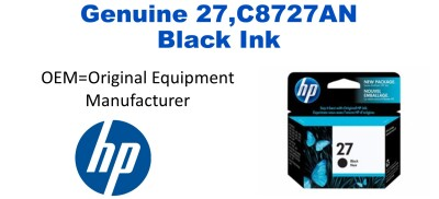 New Original HP 27 Black Ink Cartridge (C8727AN) (#27)