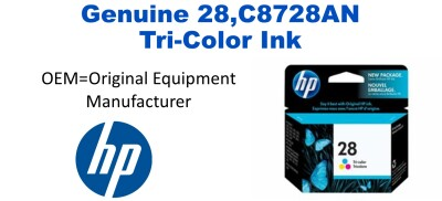 New Original HP 28 Tri-Color Ink Cartridge (C8728AN)