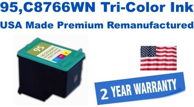95,C8766WN Tri-Color Premium USA Made Remanufactured ink