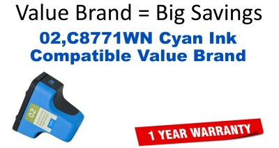 02,C8771WN Cyan Compatible Value Brand ink