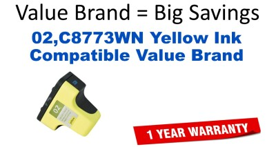 02,C8773WN Yellow Compatible Value Brand ink